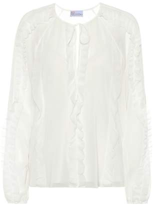 RED Valentino Ruffled silk-blend blouse