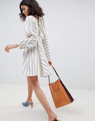 Asos striped mini dress with wrap around detail