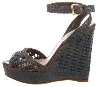 Prada Leather Braided Wedge Sandals
