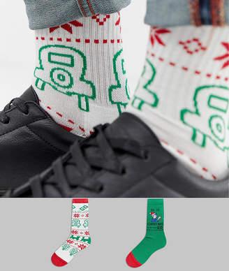 Asos Design DESIGN Christmas socks with Monopoly design 2 pack 658d6ad90cb