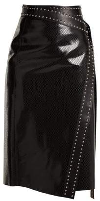 Alexander McQueen Python Effect Leather Wrap Skirt - Womens - Black