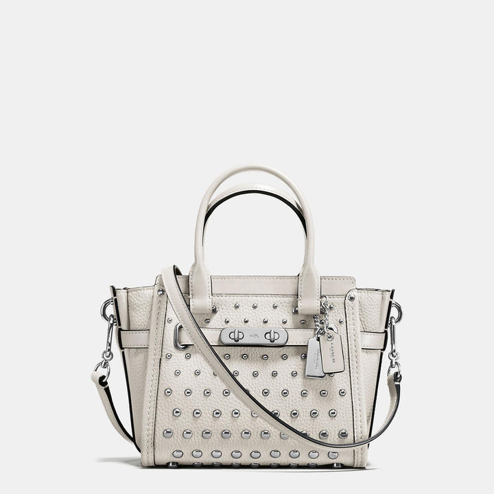 Coach   COACH Coach Swagger 21 In Pebble Leather With Ombre Rivets