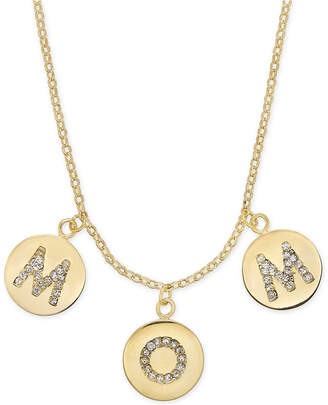 """Kate Spade Gold-Tone Pave Mom Charm Pendant Necklace, 17"""" + 3"""" extender"""