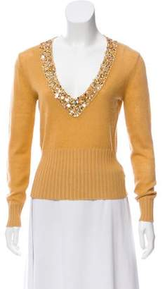 Dries Van Noten Sequin Embellished V-Neck Sweater