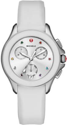 Michele 34mm Cape Topaz Chrono Watch with Silicone Strap, White