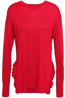 DKNY Ruffle-trimmed Knitted Sweater