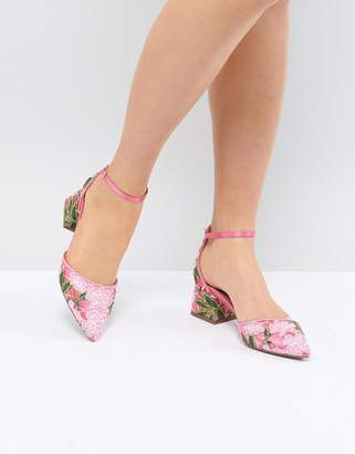 Asos Design Shakira Embroidered Mid Heels