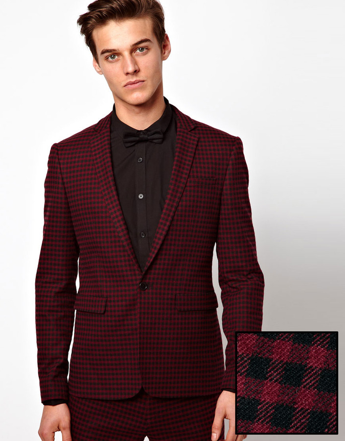 Asos Skinny Fit Suit Jacket in Gingham Check