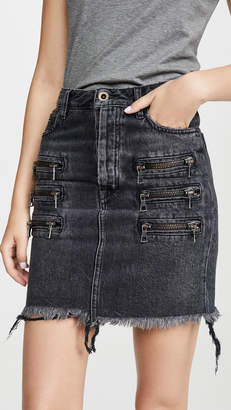 Unravel Project Triple Zip Denim Skirt