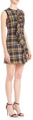 MSGM Women's Plaid Ruffle Dress