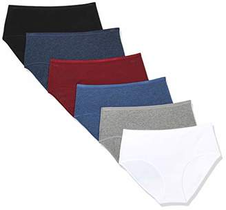 Madeline Kelly Women's 6 Pack Cotton Brief Black-Dark Heather Blue-Burgundy-Denim Heather-Heather Grey-White M