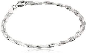 Italian Sterling Three-Strand Braided Herringbone Chain Bracelet