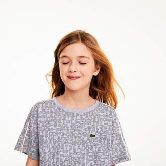 Lacoste Girls' Crewneck Flared Print Cotton T-shirt