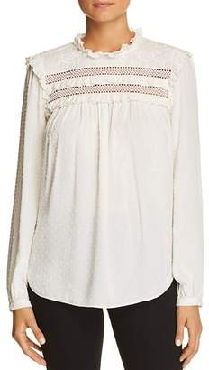 Kate Spade Embroidered Swiss-Dot Cotton Top