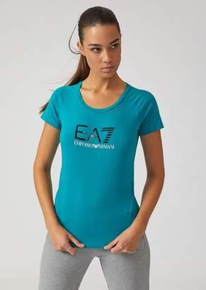 Emporio Armani Stretch Cotton T-Shirt With Ea7 Logo