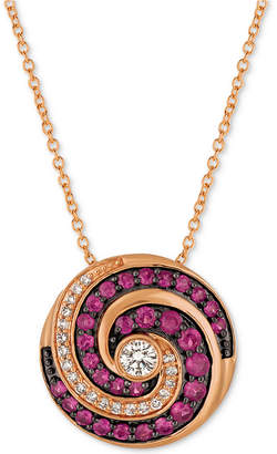 LeVian Le Vian Extraterrestrials Passion Ruby (1/2 ct. t.w.) & Diamond (1/5 ct. t.w.) Pendant Necklace in 14k Rose Gold