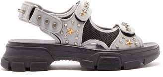 Gucci Aguru Stud Embellished Leather Sandals - Mens - Grey Multi