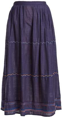Thierry Colson Cretan embroidered-cotton skirt