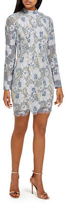 Missguided Floral Lace Long-Sleeve Bodycon Dress