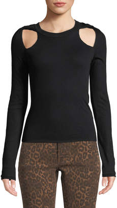 Alexander Wang Fitted Twisted-Shoulder Cutout Sweater
