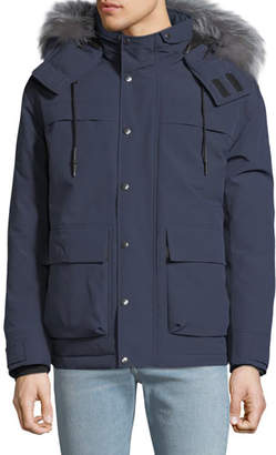 Mackage Men's Down Puffer Coat with Fur-Trimmed Hood