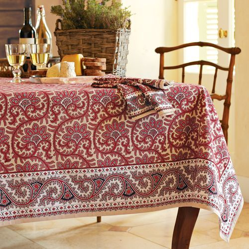 Wandering Vines Tablecloths, Red & Khaki
