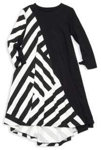Nununu Baby Girl's, Little Girl's& Girl's Asymmetric Striped Long-Sleeve Dress