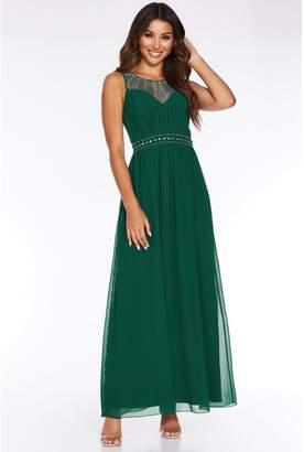 Quiz Bottle Green Chiffon High Neck Embellished Maxi Dress