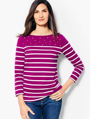 Talbots Stripe Pearl-Embellished Cotton Top