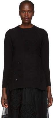 Simone Rocha Black Beaded Easy Sweater