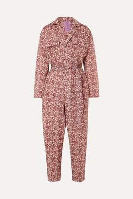 Yvonne S Belted Floral-print Linen Jumpsuit - Burgundy