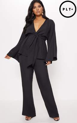 PrettyLittleThing Plus Black Woven Wide Leg Suit Trousers