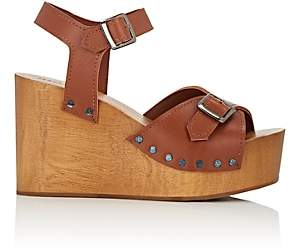 Barneys New York Women's Leather Wedge Sandals - Lt. brown