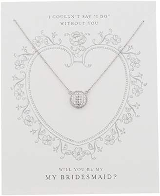 "clear Sterling Silver Cubic Zirconia Pave Disc ""Be My Bridesmaid"" Gift On Sentiment Card Necklace"