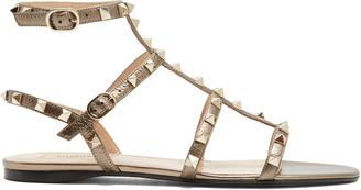 VALENTINO Rockstud leather flat sandals $975 thestylecure.com