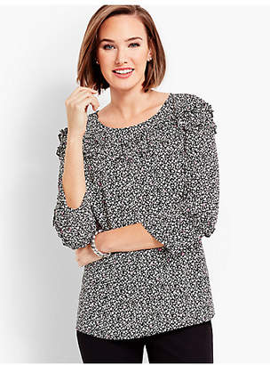 Talbots Shirred Ruffle Top - Floral