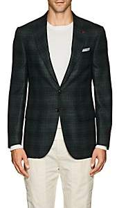 Isaia Men's Sanita Plaid Wool Two-Button Sportcoat-Olive