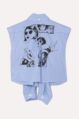 Prada Printed Striped Cotton-poplin Shirt - Blue