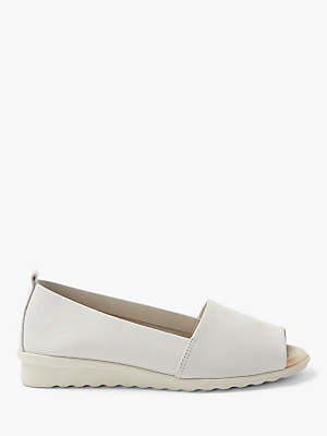 John Lewis & Partners Designed for Comfort Helena Peep Toe Pumps, Natural Leather