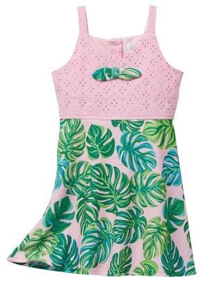Blush by Us Angels Eyelet To Leafe Print Pique Dress (Toddler & Little Girls)
