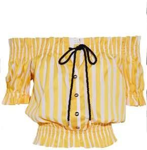 Caroline Constas Peasant Off-The-Shoulder Shirred Striped Cotton-Poplin Top