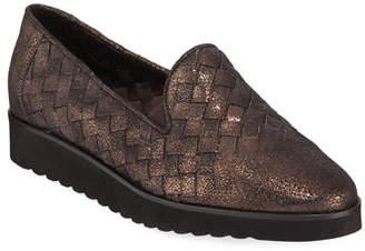 Sesto Meucci Naia Iconic Woven Metallic Leather Loafers, Brown