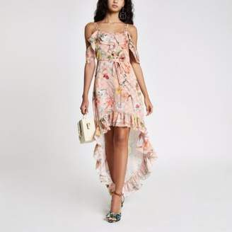 River Island Womens Light pink floral frill high low maxi dress
