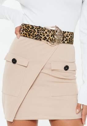 Missguided Leopard Print Gold Western Buckle Belt