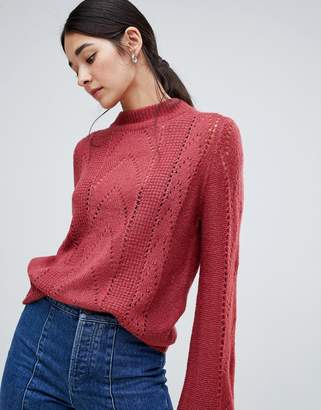 Vila Open Knit Cable Knit High Neck Sweater