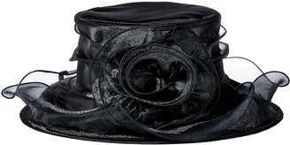 San Diego Hat Company Women's Organza Hat with Wired Brim and Rosette Trim