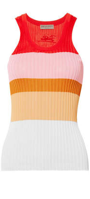 Striped Ribbed-knit Top - Coral