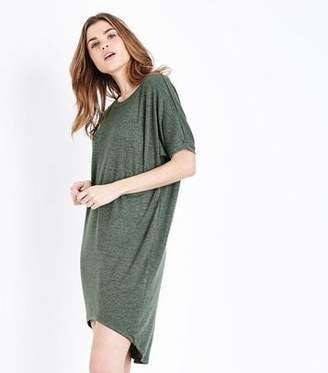 Apricot Green Dip Hem Oversized Dress