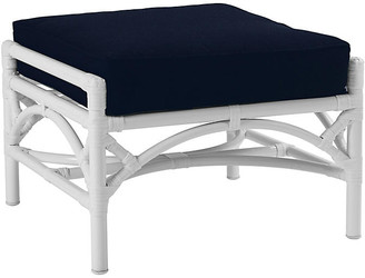 David Francis Furniture Chinese Chippendale Ottoman - Navy