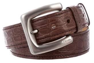 Prada Pewter-Tone Crocodile Belt